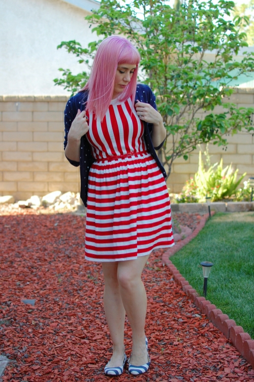 Ruche striped dress 7