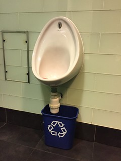 urinal with recycle bucket