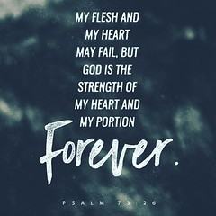 My flesh and my heart may fail, but God is the strength of my heart and my portion forever. Psalms 73:26 ESV