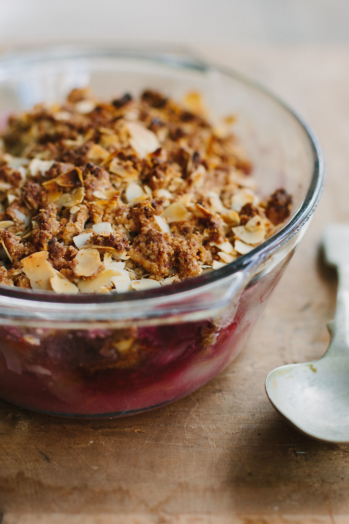 raspberry, pear + almond crumble {gluten-free}