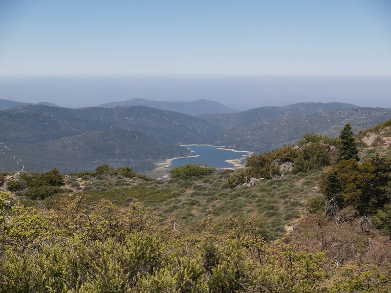 Looking down at Lake Hemet from the PCT on the ridge west of Palm View Peak
