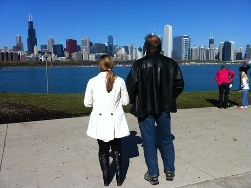 With my dad in front of the Chicago skyline