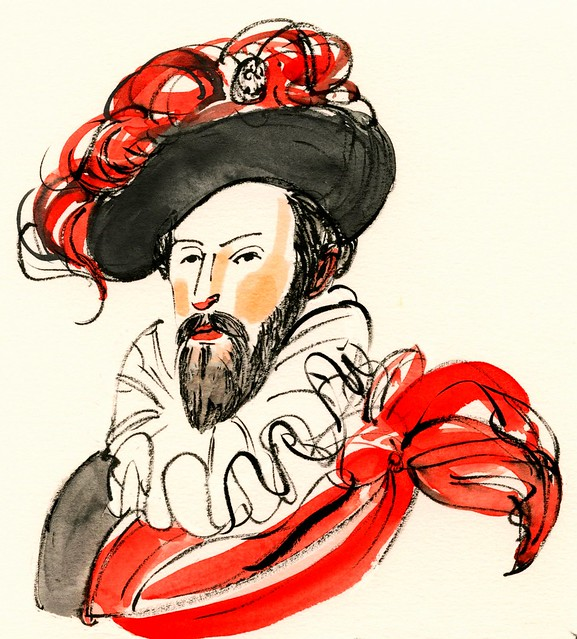 Sir Walter Raleigh in red and black