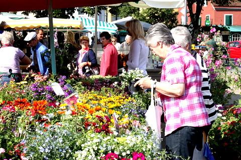 Kunden am Blumenstand