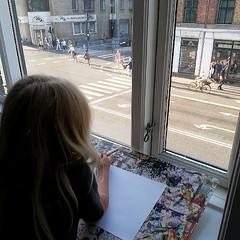 Lulu decided to start counting cyclists rolling past. My little urbanist.