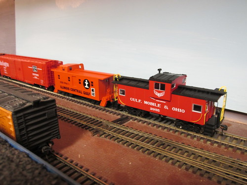 An early merger era Illinois Central Gulf freight train with two cabooses bringing up the rear circa 1972.  The Oak Park Society of Model Engineers,H.O Scale Model Railroad Club.  Oak Park Illinois.  June 2013. by Eddie from Chicago
