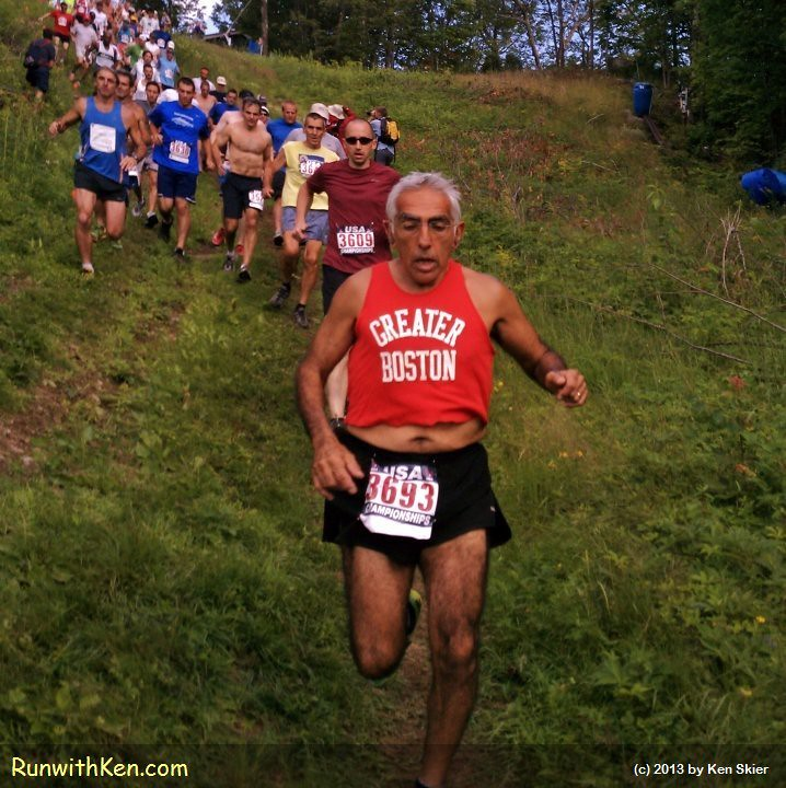 Greater Boston Track Club (GBTC)'s Tom Derderian sets a BLISTERING PACE at the Cranmore Mountain Race in North Conway, NH. by runwithken
