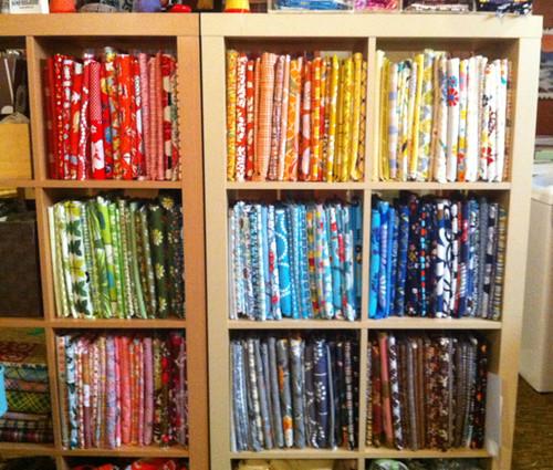 my folded fabrics in semi-rainbow formation