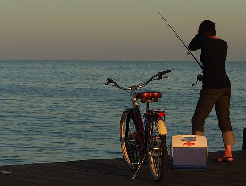 fishing, with bicycle