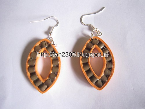 Handmade Jewelry - Paper Quilling Leaf Shape Earrings (1) by fah2305