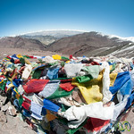Prayer Flags, Fisheye View at Top of Gongmaru La Pass - Ladakh, India