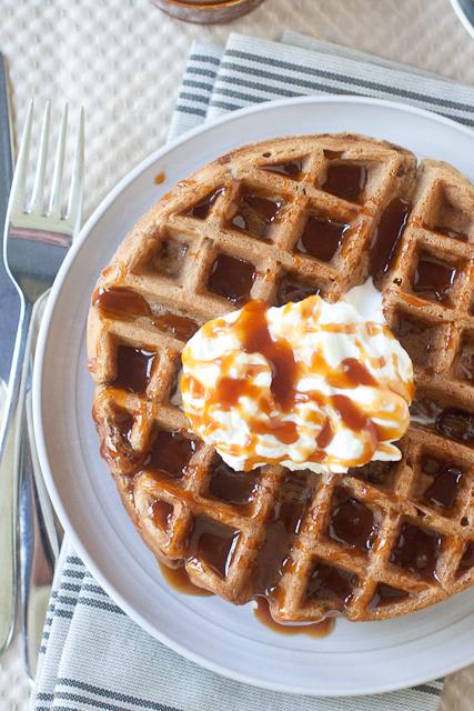 Apple Pie Waffles with Maple Bourbon Caramel Sauce
