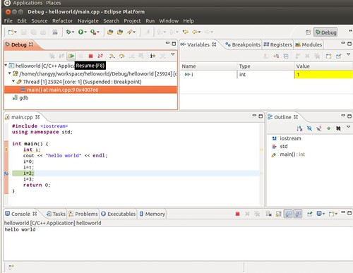 Ubuntu 12.04 Eclipse C++ Project Debug 7