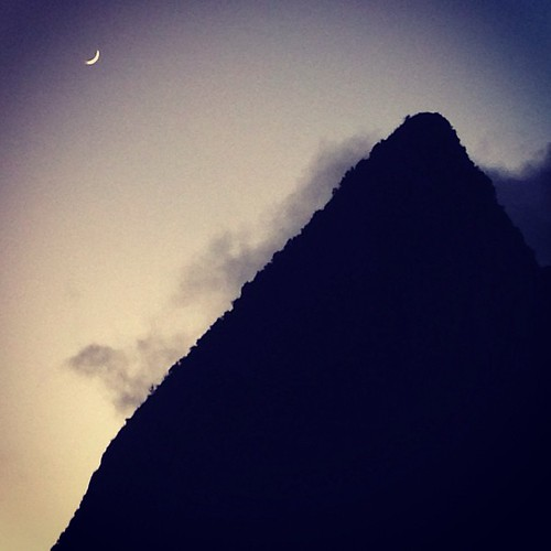 sunset moon square view squareformat stlucia ladera grospiton petitepiton iphoneography instagramapp uploaded:by=instagram foursquare:venue=4daad6c26a2303012f16386e