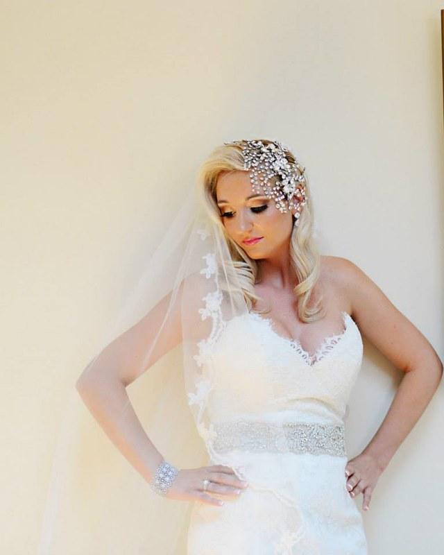 dramatic Swarovski bridal headpiece, statement bridal jewelry, custom bridal accessories, striking bride