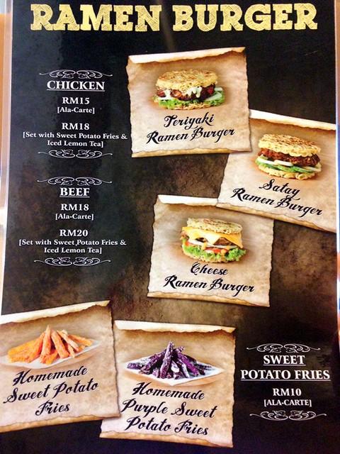 ramen burger penang - menu