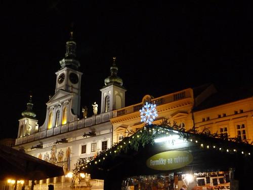 Plaza de Ceske Budejovice en Navidad