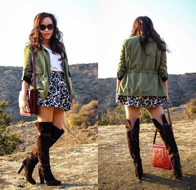 Anorak olive jacket, suede over the knee boots, floral skirt