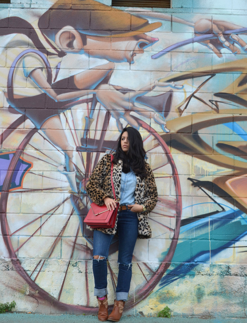 florenciablog coat animal print and total look denim redboxbag