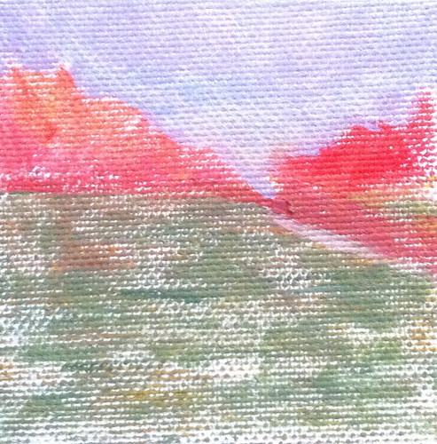 Red Trees and Green Field (Mini-Painting as of Jan. 2, 2014) by randubnick