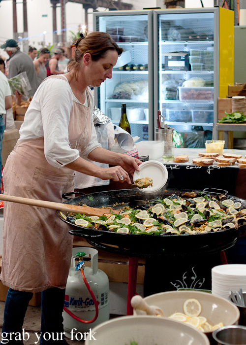 Alex Herbert making paella at Bird Cow Fish at the Sunday Marketplace, Rootstock Sydney 2014