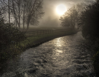The Sun trying to break through the fog at Wherwall, Hampshire