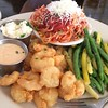 Popcorn Shrimp With Green Beans & Angelhair Marinara @ oSo Eats
