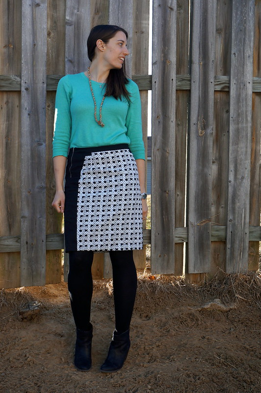 Merona aqua sweater and nautical rope skirt