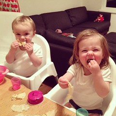 Pancakes were a hit (although Claudia also expressed a preference for lemon wedges - rind and all!) #twinsofinstagram #pancakeday #shrovetuesday