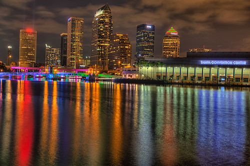 reflection skyline tampa effects florida beercan processing nik hdr riverwalk hillsboroughriver tampaconventioncenter photomatix lightsontampa sykesbuilding plattstreetbridge agualuces rivergatebuilding