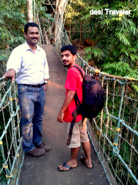 Anthony  and Roy Chacko on Burma bridge to tree house