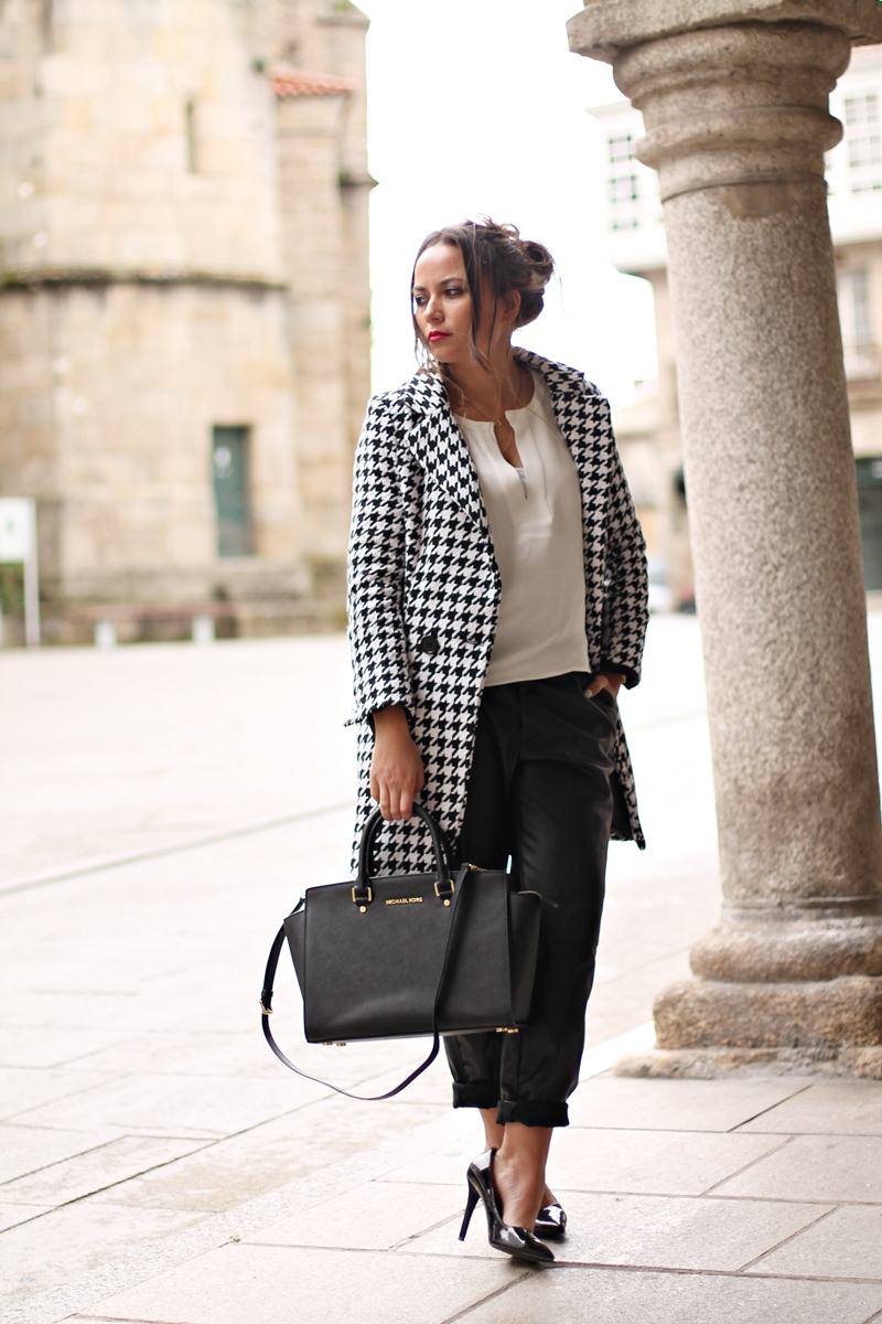 black, houndstooth coat