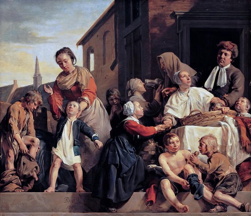 Jan de Bray - Het verzorgen van de kinderen van het Arme-Kinderhuis drie Werken van Barmhartigheid (1663)