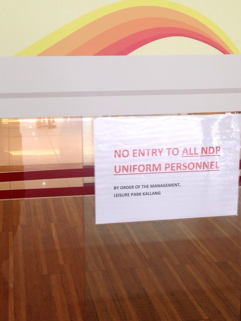 Leisure Park Kallang barred all NDP uniform personnel from entering? - Alvinology
