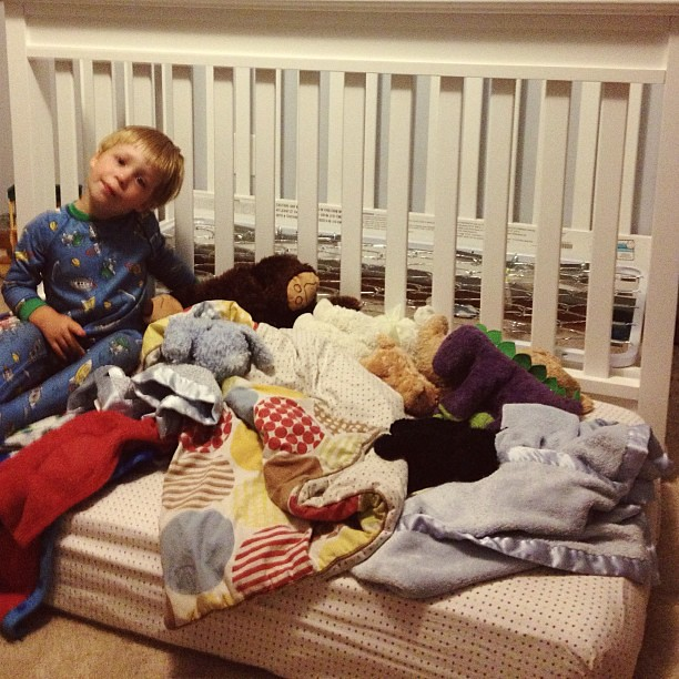 How we are handling the boy who keeps climbing out of the crib....mattress on the floor FTW.