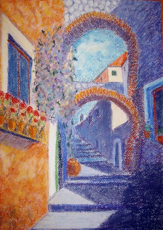 Old Italian street - pastel - final