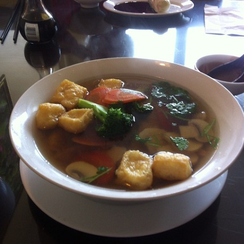 Wor wonton soup, vegan style #yegfood by raise my voice