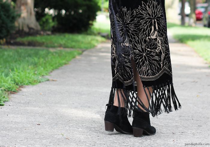 velvet fringe maxi skirt