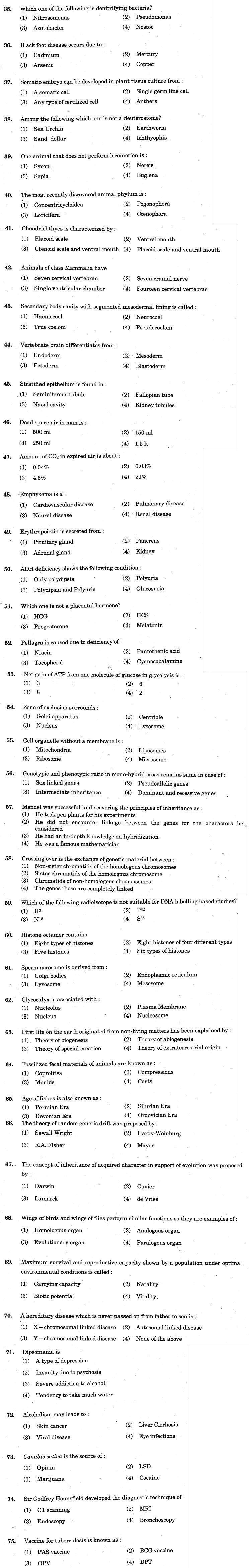 J&K CET 2011 Biology Question Paper