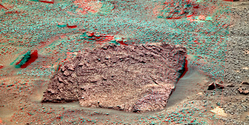 Opportunity sol 3376 PanCam - Black Shoulder anaglyph
