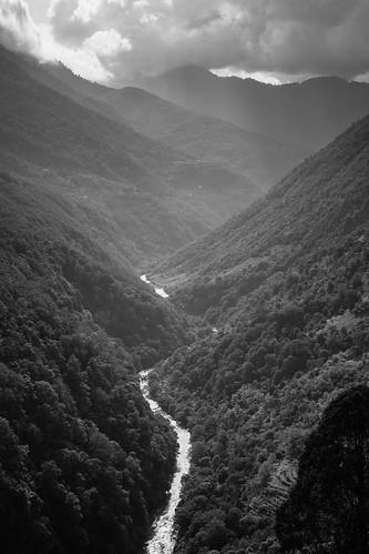 Snaking through lush valleys