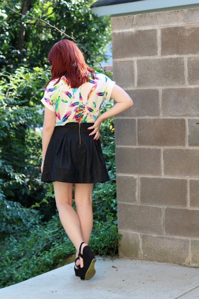 Leather Skater Skirt and a Feather Shirt