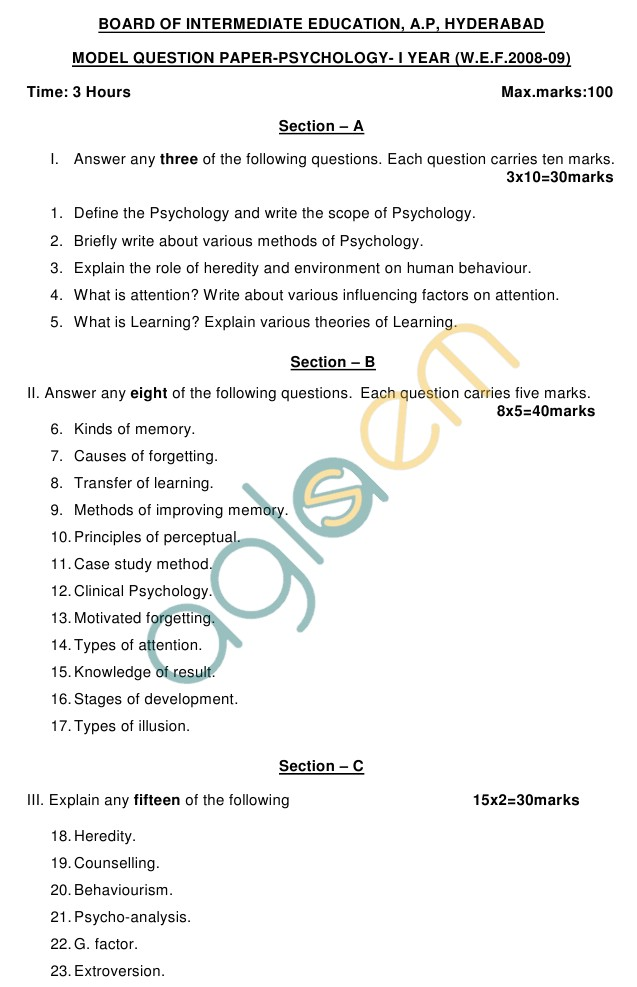 AP Board Intermediate I Year Psychology Model Question Paper