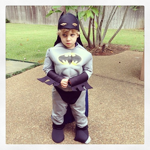 This morning he is a sad batman because he can't fly. Batman should be able to fly he says.