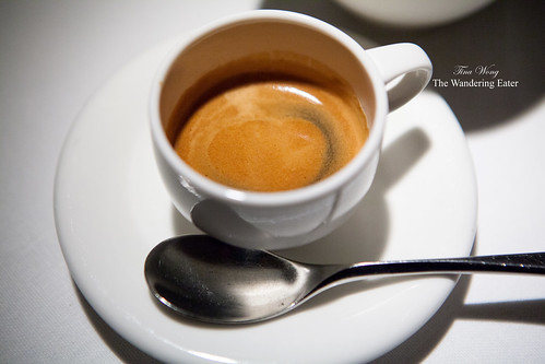 Espresso served with various sugars