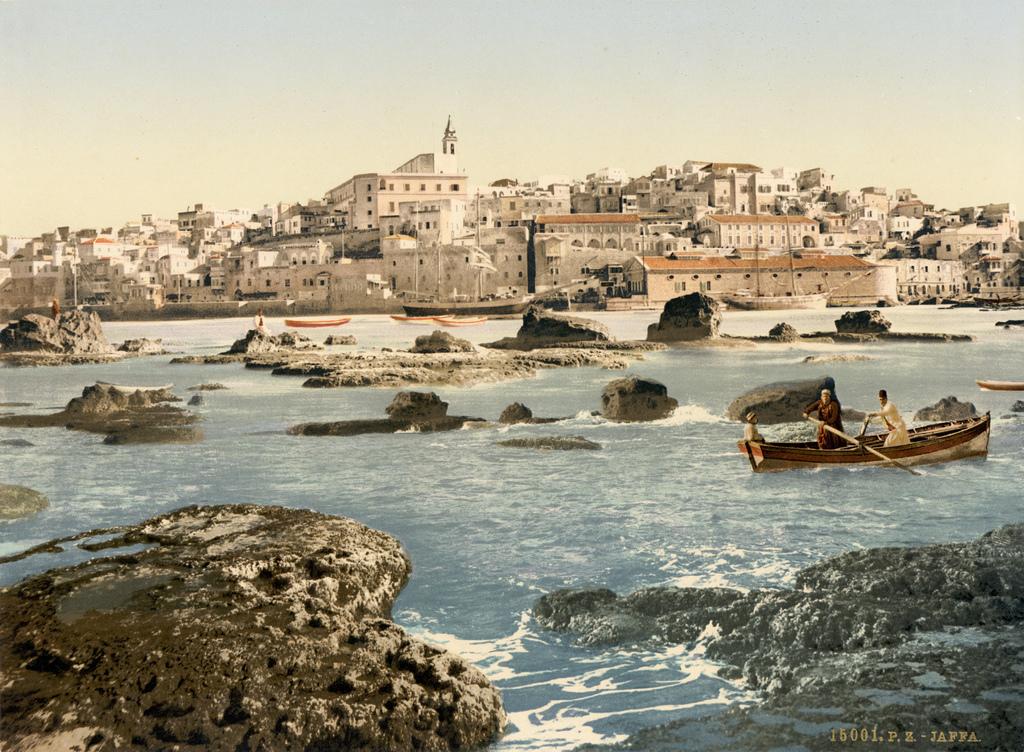 21. La ciudad de Jaffa desde el mar. Composición de finales del siglo XIX. Autor, Trialsanderrors