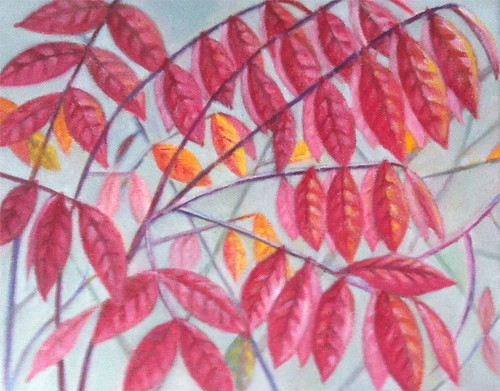 Red Leaves (Oil Bar Painting) by randubnick