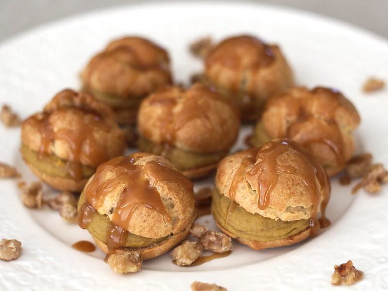 Pumpkin Profiteroles with Maple Caramel and Sugared Walnuts (Gluten-free)