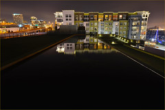 Waterway Apartments and reflection pool, Tacoma, Washington