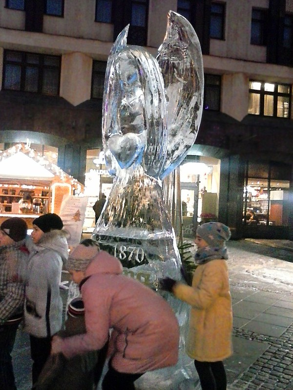 Ice sculpture in The Old Town of Riga by aigarsbruvelis